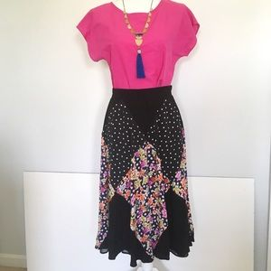 Anthropologie Maeve Midi Floral and Dot Skirt